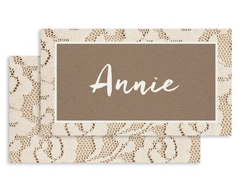 Rustic Wedding Place Card | DIGITAL FILE | Lacie | Printable DIY Wedding Invite, Wedding Reception, Name Card - Set of 10
