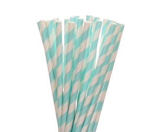 Paper Straws, Light Blue Striped Paper Straws, Engagement Party Straws, Baby Shower Straws, Light Blue Bridal Shower, Blue Wedding Straws