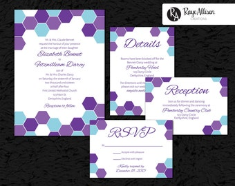 Hexagon Suite - Printable wedding invitations - personalized wedding invitation set