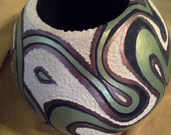a retro green, white and bronze swirling gourd vase
