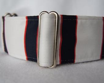 2 Inch Wide Martingale Collar: Greyhound Whippet Lurcher Handmade Dog Collar Black Red Nautical Stripe