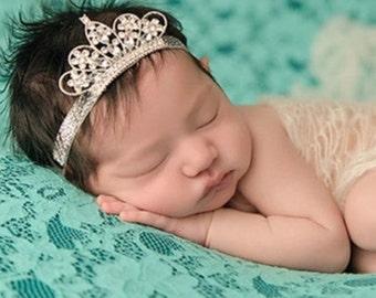 Baby Girl Crown Rhinestone Tiara Silver Headband