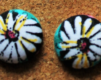18mm Fabric Covered Stud Earrings - Large Flower Print Studs