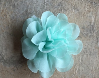 "4.2"" Chiffon flower, MINT, layered flowers, headband flowers, wedding flowers, headband supplies, material flowers, flowers, large flowers"