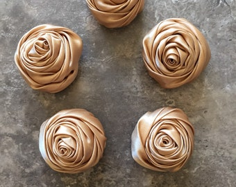 """2"""" Raised Rosettes, GOLDEN TAN, rolled flowers, satin flowers, wedding flowers, head band supply, head bands, silk flowers, roses, flowers"""