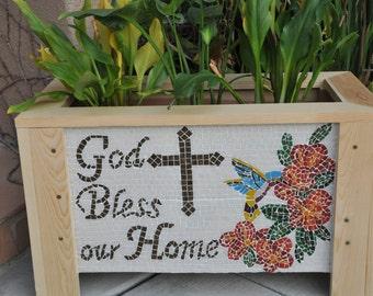 Mosaic Garden box, Planter Box, garden box, Outdoor Planter, Outdoor box