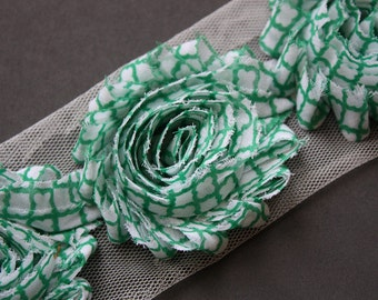 Quatrefoil Shabby Rose Trim - Pick Your Length - Green Quatrefoil