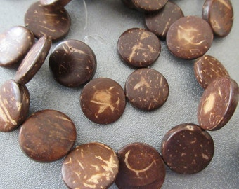 Coconut Flat Shell Coin Beads 34pcs