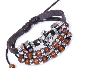 Tibetan Zen Buddhist Cross Leather Bracelet Bohemian Style