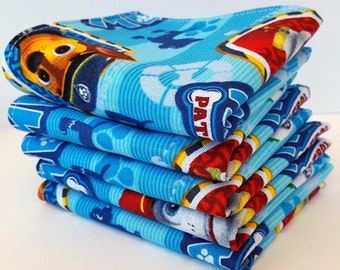 Lunch Box Napkins, Set of 5, Made with Paw Patrol fabric on light blue, Cloth Napkins, Reusable, School Lunch by Sew4MyLoves