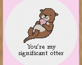 Otter Cross Stitch Pattern (Pun cross stitch pattern) PDF Download