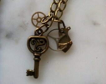"Steampunk Necklace 20.5"" Antiqued Brass Color Item 157"