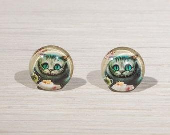 Cat Earrings, Cheshire Cat Alice in Wonderland Stud Earrings, Alice in Wonderland