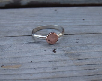 Silver And Copper Stack Ring