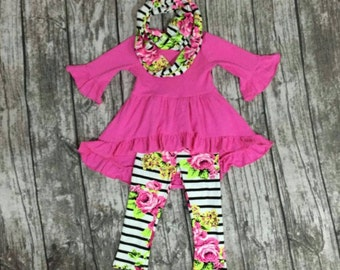 Girls' top pants and scarf, baby outfit, toddler outfit, children's floral outfit, baby clothes, girls floral pants, baby girl scarf