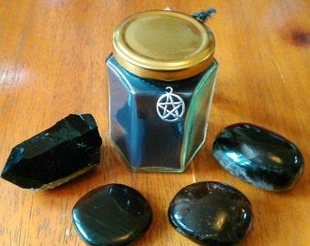 Black Power Soy Spell Candle - 8 oz. - Cedarwood and Myrrh - Health and Balance