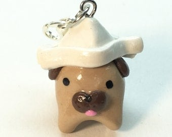 Polymer Clay Paper Hat Pug Charm