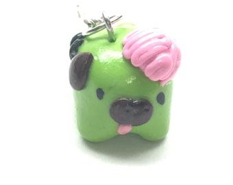Polymer Clay Zombie Pug Charm