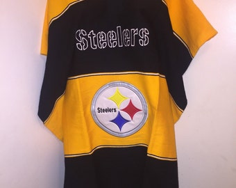 Mexican hand made stitched logo poncho serape Pittsburgh Steelers