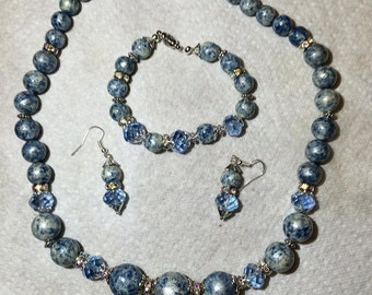 Blue Speckled jewelry set