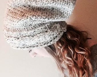 Super Slouchy Cabled Crochet Toque