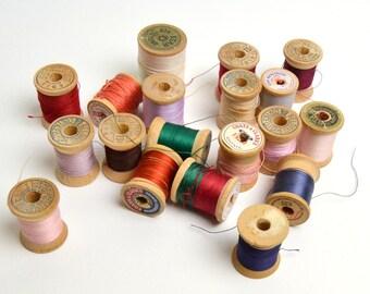 lot of vintage wood thread spools, vintage sewing, wood spools