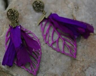 Bohemian, bronze and purple earrings