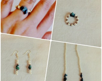 3 piece necklace, earrings and ring set