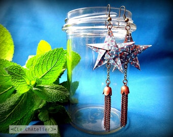 Boucle oreille fantaisie - originales / Boucles d'oreille pendantes / Pendentifs d'oreilles origami /étoile pompon longues / bleu motif