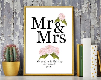 DIN A4 wedding day art print, anniversary mural ' Mr & Mrs', personalized