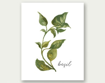 SALE, Herbs Printable, Basil Printable, Herbs Wall Art, Herbs Print, Basil Art, Basil Print, Basil Poster, Kitchen Printable, Kitchen Print