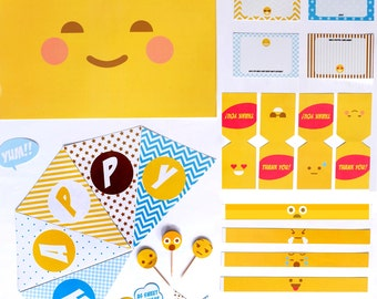 Emoji Printable Party Kit, Party Kit, Party Set, Party Decor, Party Supplies, Birthday Party, Instant Download!
