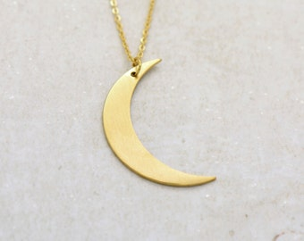 Crescent Moon Silhouette Necklace, Brushed 24k Gold Plated Stainless Steel, Dainty Minimal Eclipse Layering Layered Long Necklaces