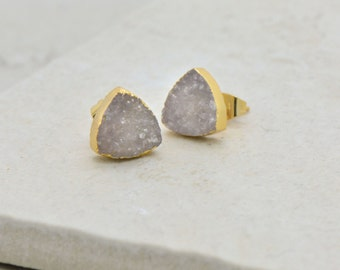 Cloud White-Gray Triangle Druzy Crystal Earrings - 24K Gold Dipped - 10mm Triangle - Earring Studs & Posts