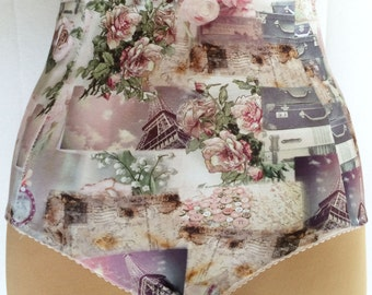 Vintage style high waisted knickers - vintage pin up, Parisian print
