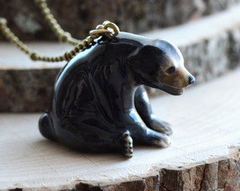 Hand Painted Porcelain Sitting Bear Necklace, Antique Bronze Chain, Vintage Style Black Bear, Ceramic Animal Pendant & Chain (CA149)