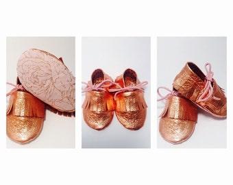 Rose Gold Leather Infant/Toddler Fringe Moccasins