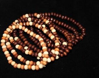 Hippie Forest Wood-Beaded Bracelets