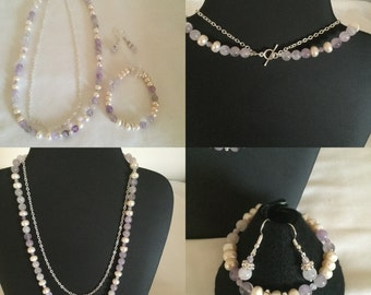 Freshwater pearl and Amethyst necklace set.