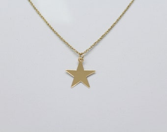 14k Solid Gold Star Necklace