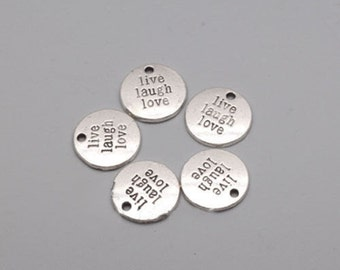 Bulk Lot Live Laugh Love Inspirational Word Text Message Motivation Round Charm Pendant Jewelry Making DIY Bracelet Necklace Earrings