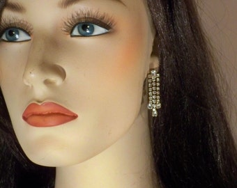 New Old Stock Vintage Clear Rhinestone Dangly Pierced Earrings RS33
