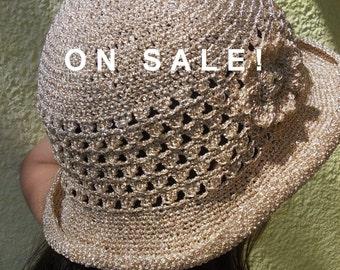 Wide brim hat,  Crochet gold hat, Beige women hat, Summer crochet hat, Wedding hat, Wide brim gold hat, Elegant hat