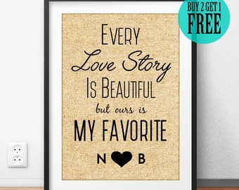 Every Love Story Is Beautiful but ours is My Favorite, Personalized, Burlap Print, Love Prints, Lover Gifts, Husband Gift, Home Decor, CM60