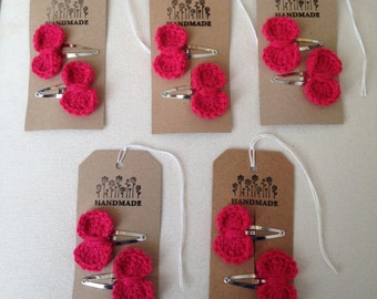 Crochet bow hair clips