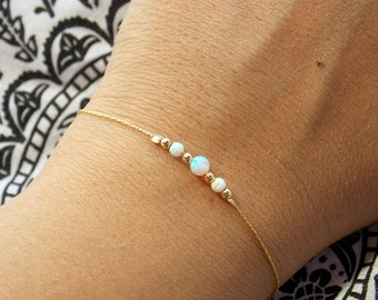Opal bracelet, opal bead bracelet, minimal bracelet, opal gold bracelet, tiny opal bracelet, beaded bracelet, opal jewelry