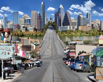 Austin, Texas Skyline - Wall Art Austin, Texas - Austin South Congress Art - Carl Walker Crum - ATX skyline, ACL Skyline, Austin panoramic