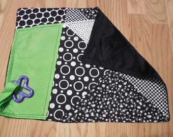 "Baby Accessory-  Black & White Modern/Lime Green ""Woobie"""