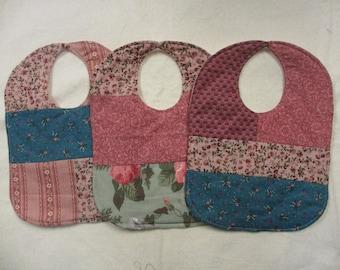 Patchwork Floral Baby Bibs - set of 3