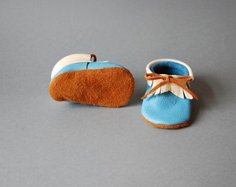 """Moccasins/Moccs/Slippers/Babyshoes """"Bay"""" made from vegetable tanned eco friendly leather"""